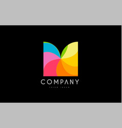 M rainbow colors logo icon alphabet design vector