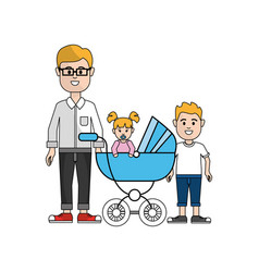 man with glasses and his baby and son icon vector image vector image