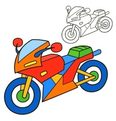 Motorcycle coloring book page vector