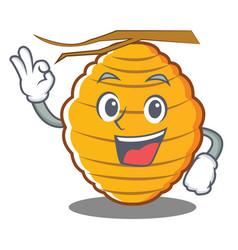 Okay bee hive character cartoon vector
