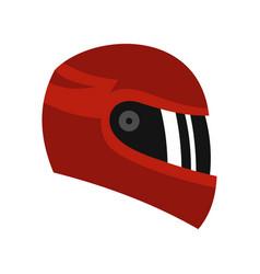 Red racing helmet icon flat style vector