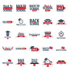 Set of back to school logo or emblem sale and vector