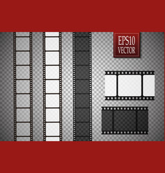 set of film strip isolated on transparent vector image