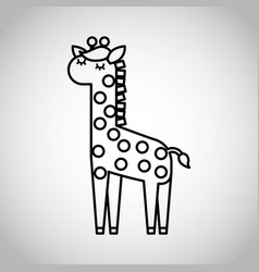 Tender cute giraffe card icon vector