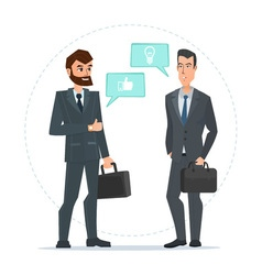 Two businessmen standing talking discussing vector image