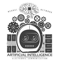 Vintage artificial intelligence label template vector