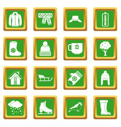 Winter icons set green vector