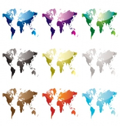 world map nine vector image vector image