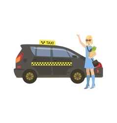Woman With Groceries Catching Black Taxi Car vector image