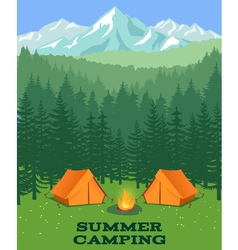 Forest camping  tourist tent on glade vector