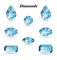 diamonds set isolated objects vector image