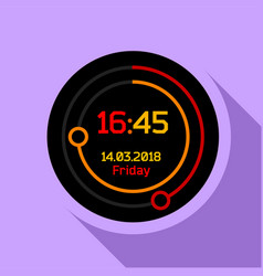 Digital countdown timer icon flat style vector