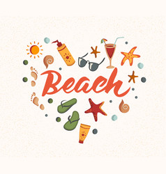 Beach word with summer elements sunscreen vector