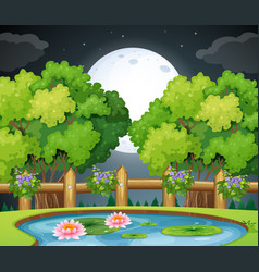Pond scene at night time vector