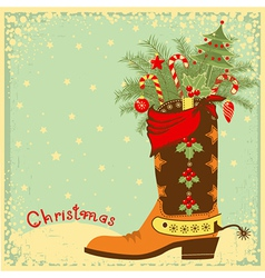 Cowboy boot with christmas elements vector