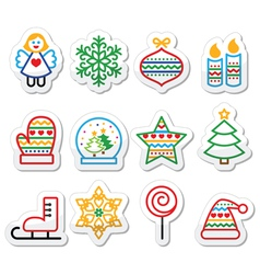 Christmas icons with stroke - xmas tree angel sn vector