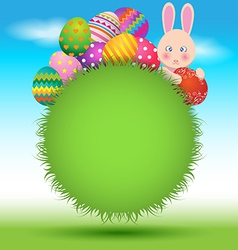Colorful eggs and bunny on green grass for easter vector