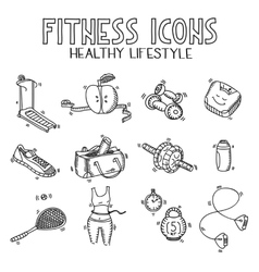 Hand drawn doodle sketch icons set fitness and vector