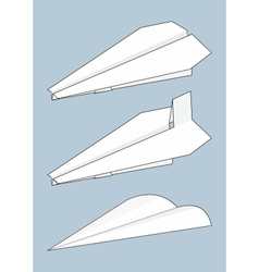 Set of paper airplanes origami vector