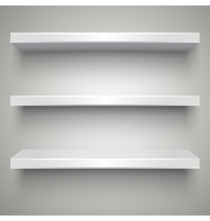Empty white shelves vector