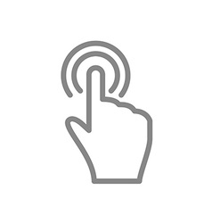 Hand touch and tap gesture line art icon for apps vector