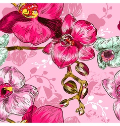 Seamless pink orchid flower pattern vector