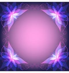 Decorative frame with violet flower vector image