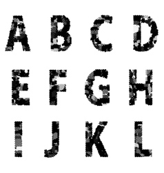 Alphabet grunge font style letters made from vector