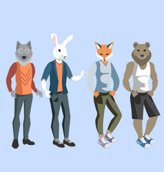 anthropomorphic animals man vector image vector image