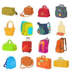bag types icons set flat style vector image vector image