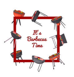barbecue time poster with charcoal grills vector image