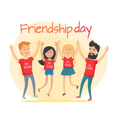 best friends spend fun time friendship day flat vector image vector image