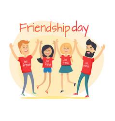 Best friends spend fun time friendship day flat vector