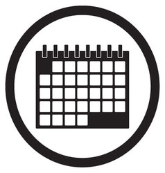 Calendar icon black white vector image