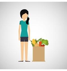 cartoon girl hair grocery bag vegetables vector image