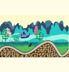 cartoon nature landscape with river trees road vector image