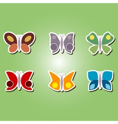 color icons with different butterflies vector image vector image