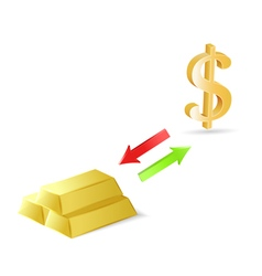 Conversion of dollars into gold vector image