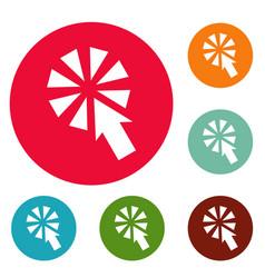 cursor interactive click icons circle set vector image vector image