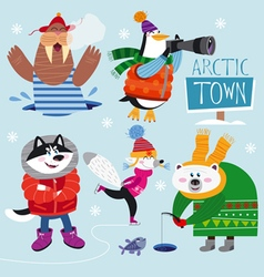 Cute set of Arctic Animals vector image