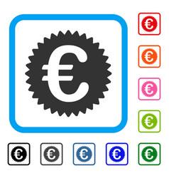 euro reward seal framed icon vector image vector image