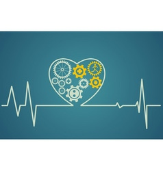 Heart symbol consists of the gears vector