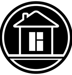 Icon with home and window silhouette vector