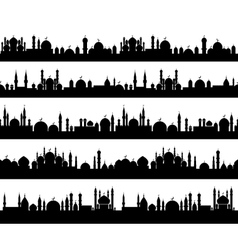 Islamic cityscape silhouettes vector image vector image