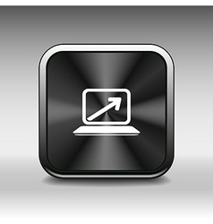 Laptop with arrow pointing up from the blank scree vector image vector image