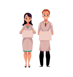 male and female doctors in medical coat holding vector image vector image