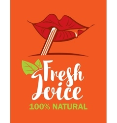 mouth is drinking fresh juice vector image