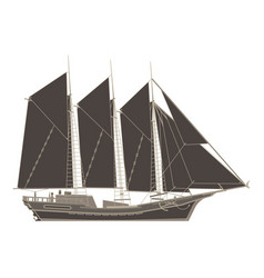 pirate ship flat icon isolated boat side view vector image vector image