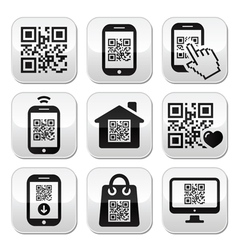 QR code on mobile or cell phone buttons set vector image vector image