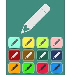 School Pencil Icon with Color Variations vector image vector image